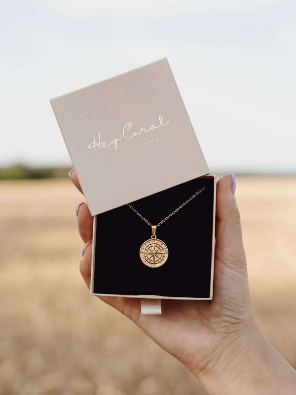 Compass Coin Necklace Gold
