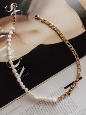 Baroque Pearl Chain Necklace Gold