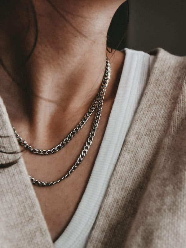 Curb Chain Necklace Silber