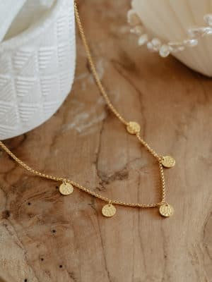 Hammered Coins Necklace Gold
